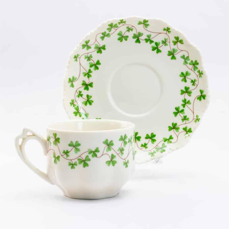 Grace Teaware Shamrock Porcelain Teacup and Saucer