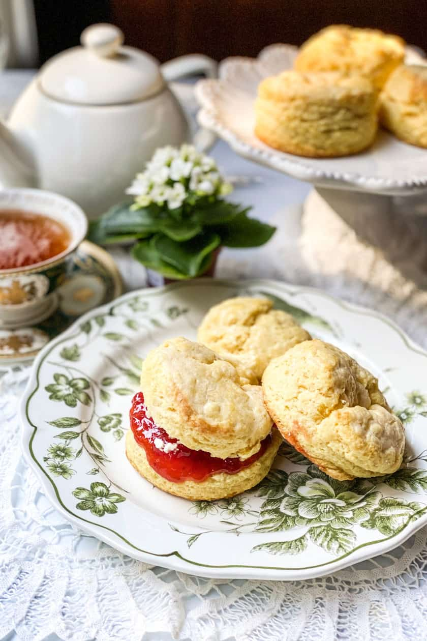 Top view of Irish Scones with a cup of warm tea.