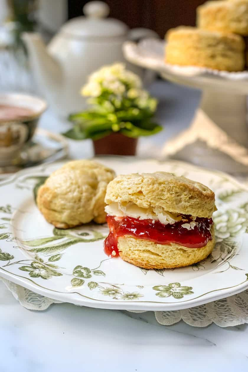 Closeup view of Irish Scone on a Green and White Plate