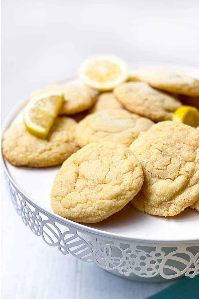 Vertical closeup of a plate of Lemon Sugar Cookies