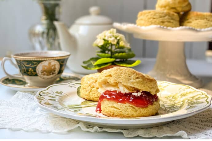 Irish Scone topped with strawberry jam and Irish butter