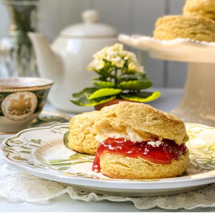 Irish Scone topped with strawberry jam and Irish butter
