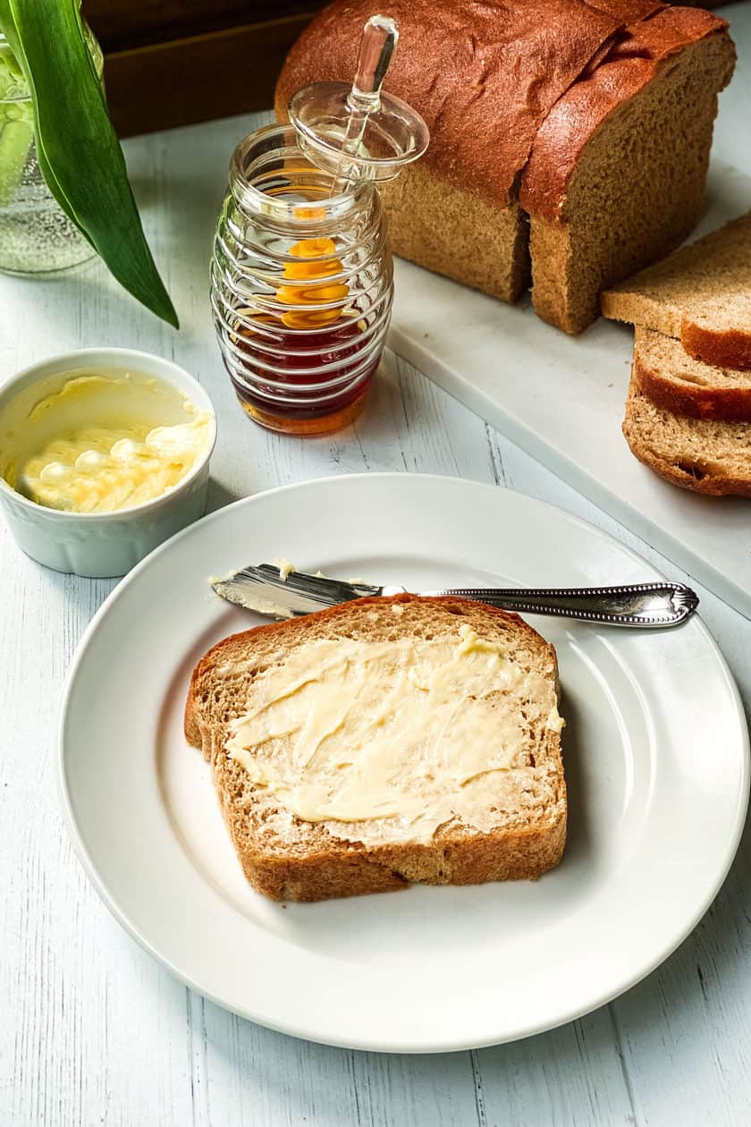 Buttered and Sliced 100% Whole Wheat Bread