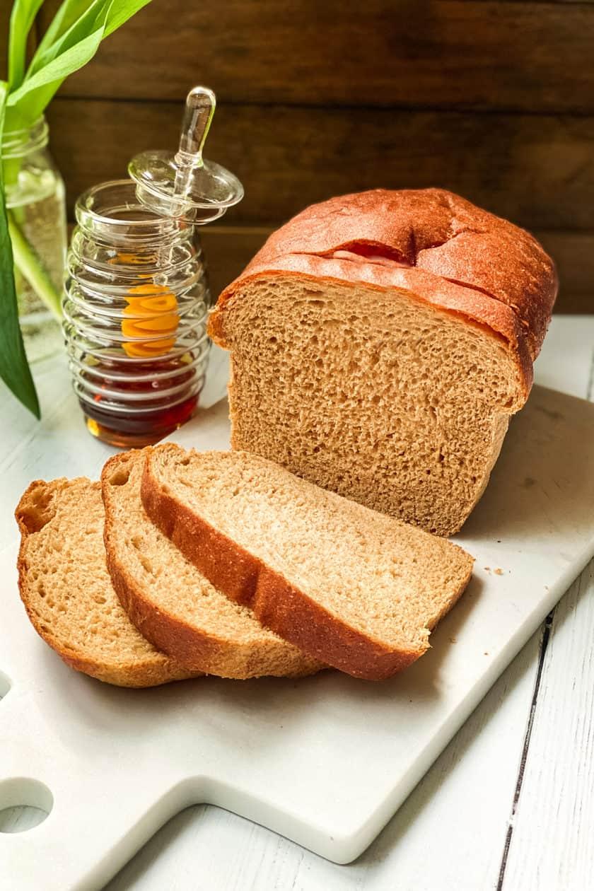 Sliced 100% Whole Wheat Bread on Bread Board