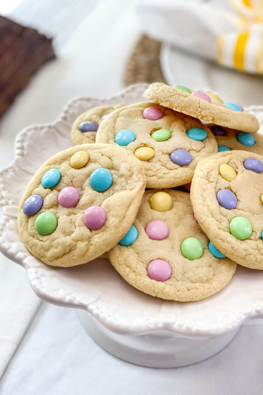 Plate of Easter M&M Cookies at the table.