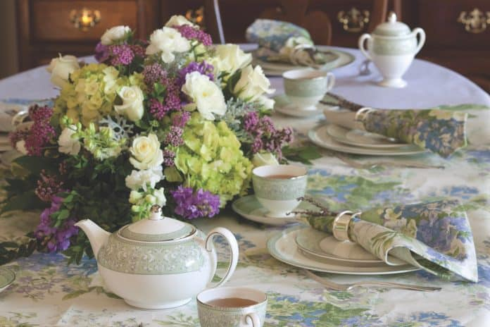 Mother's Day Afternoon Tea with pale greens and lavenders.