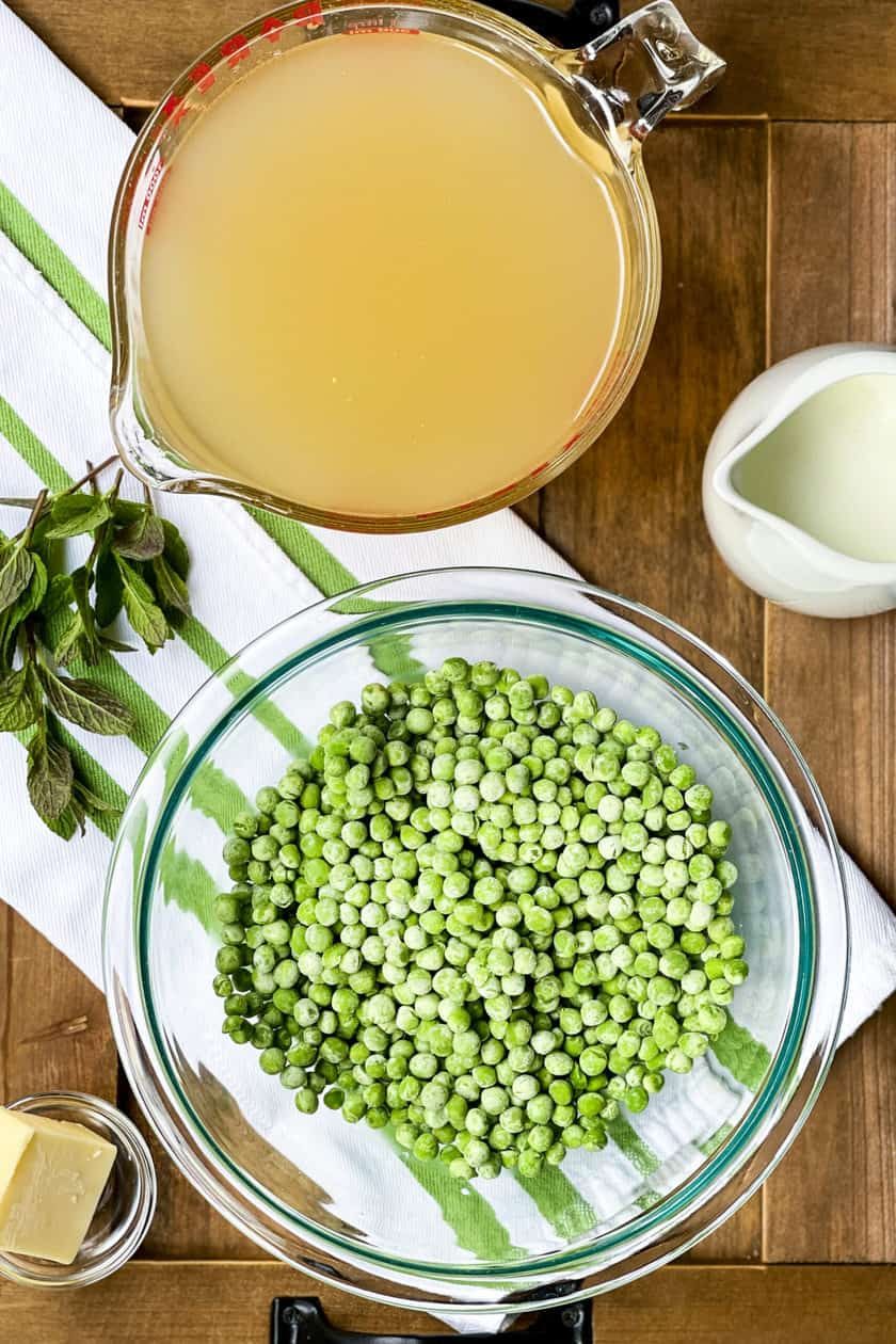 Ingredients of Frozen Peas, Chicken Stock and Herbs for French Pea Soup