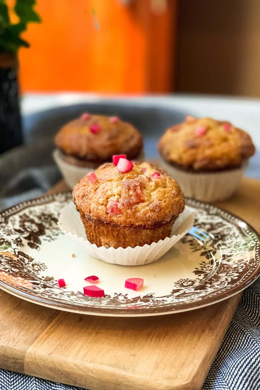Single Rhubarb Muffin on a Brown and White Transferware Plate