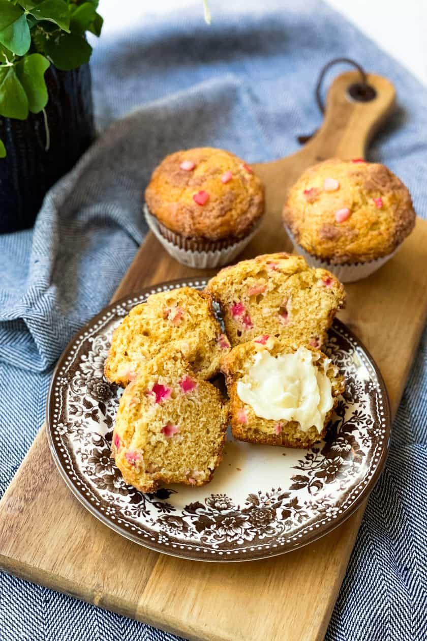 Sliced Baked Rhubarb Muffins with Butter