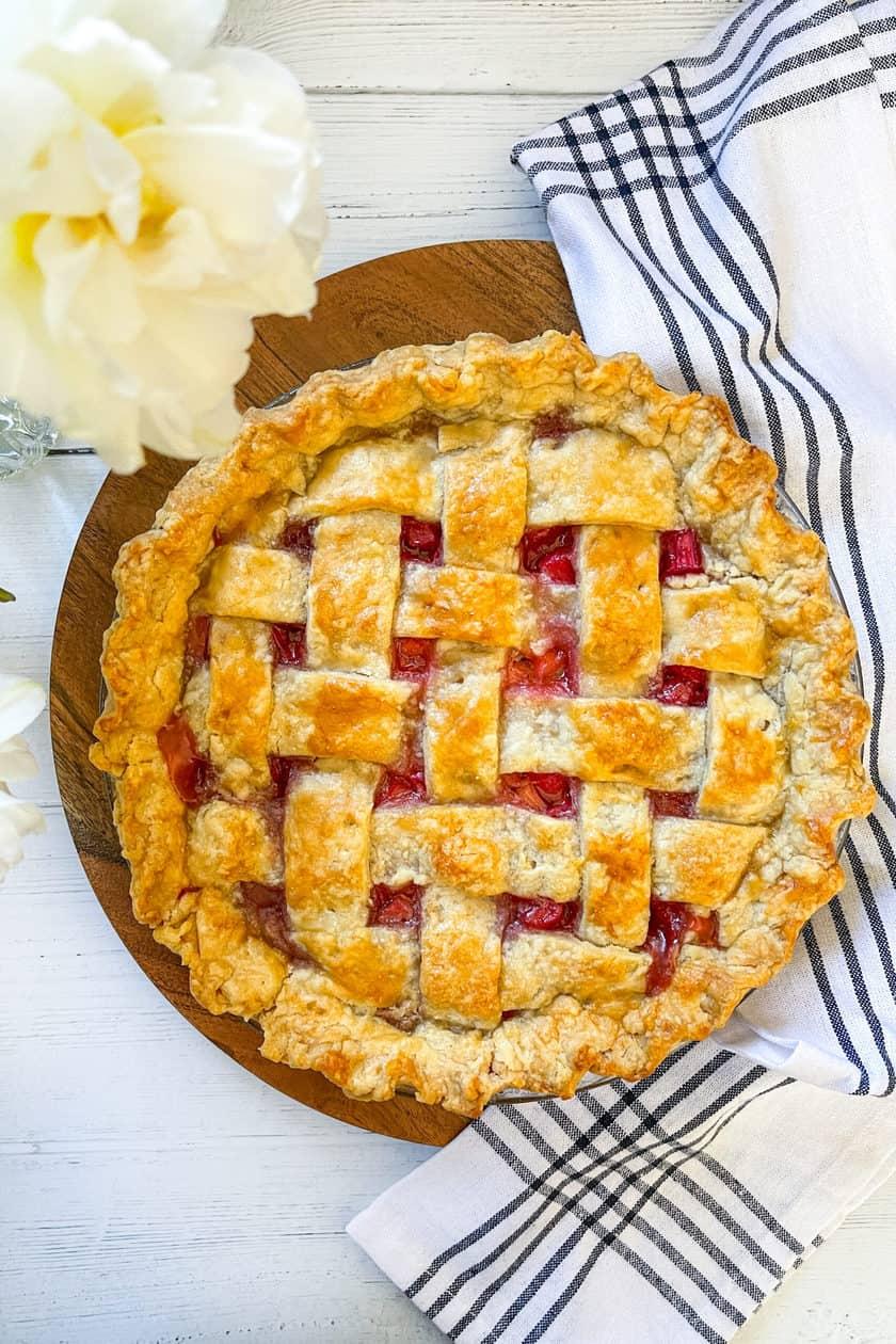 Whole Rhubarb Pie with Lattice Crust
