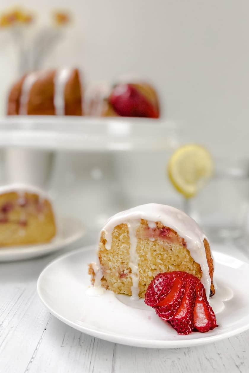Slice of Strawberry Bundt Cake with Lemon Glaze