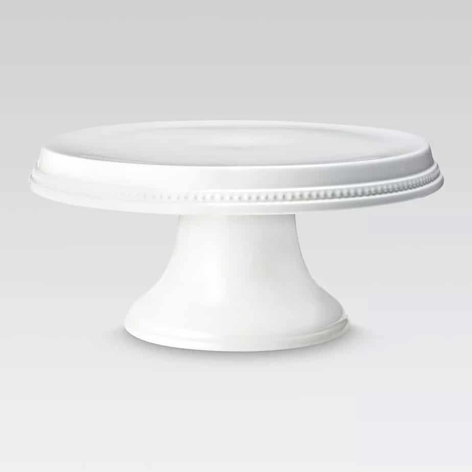 Beaded Cake Stand, White