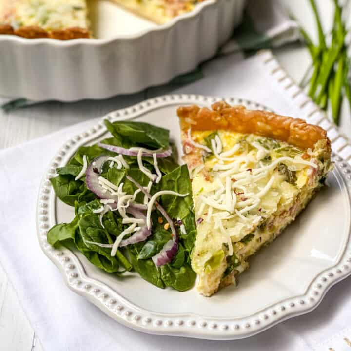 Horizontal view of a slice of Asparagus Quiche