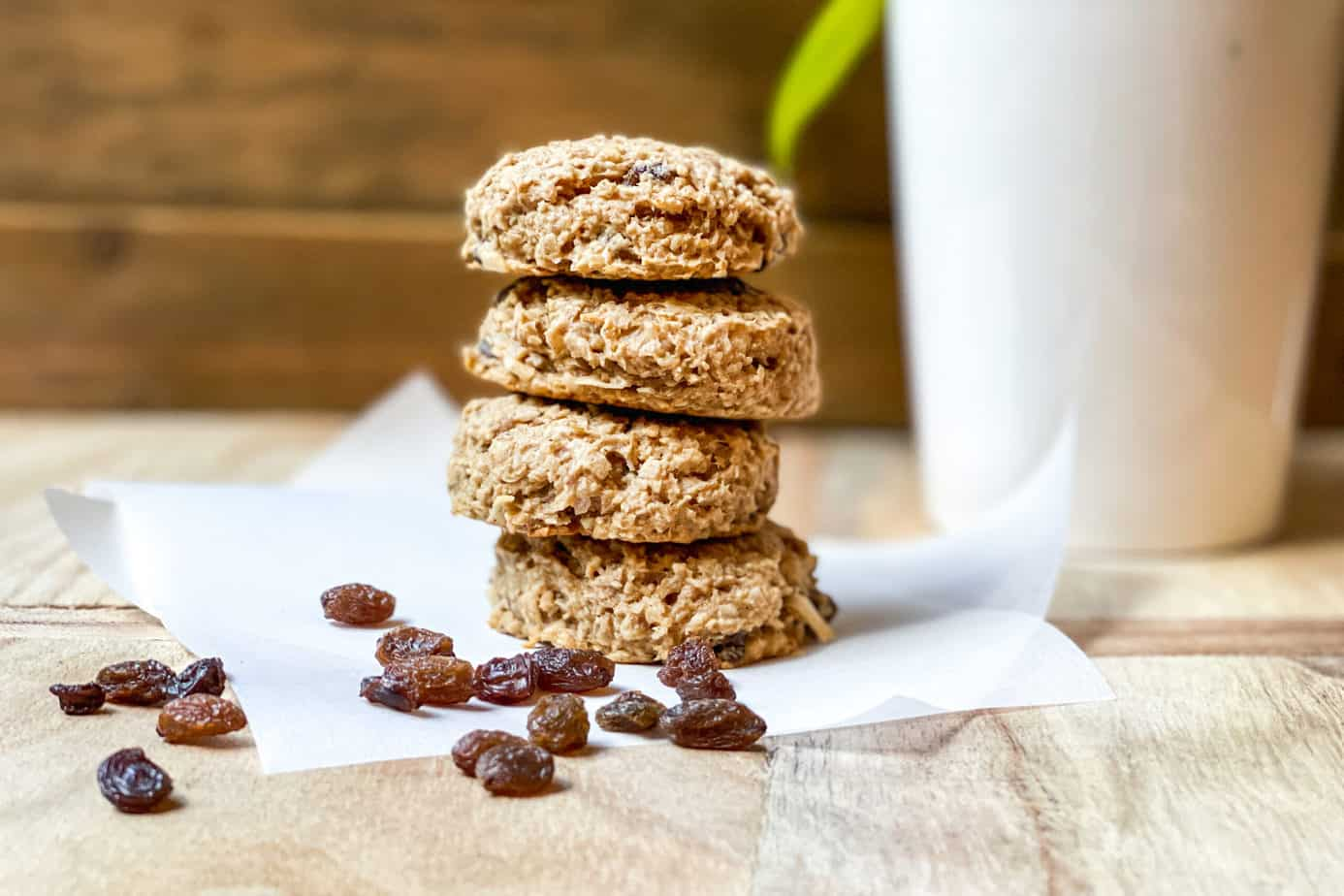 Stacked breakfast cookies on parchment paper