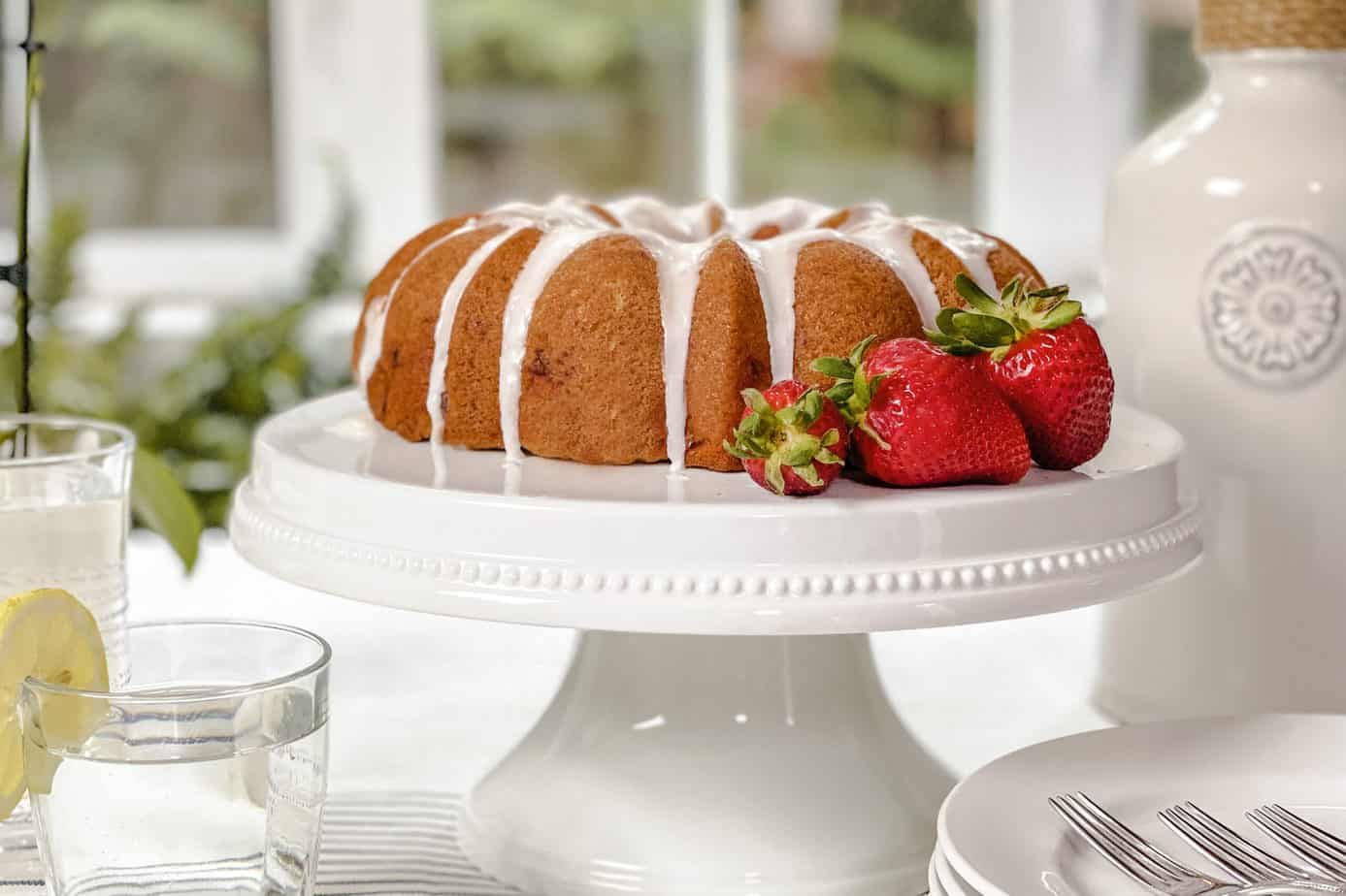 Closeup view of Strawberry Bundt Cake with Lemon Glaze