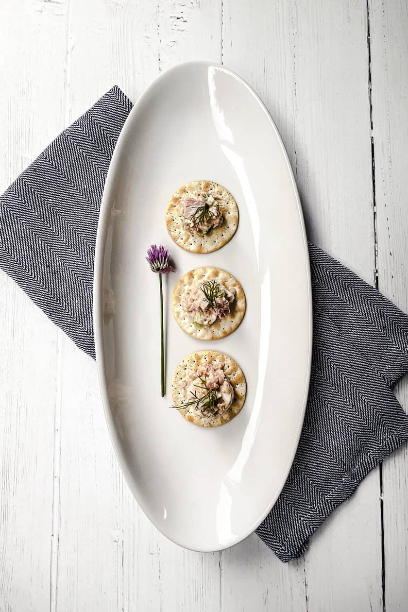 Ham Salad as an appetizer on wafer crackers.
