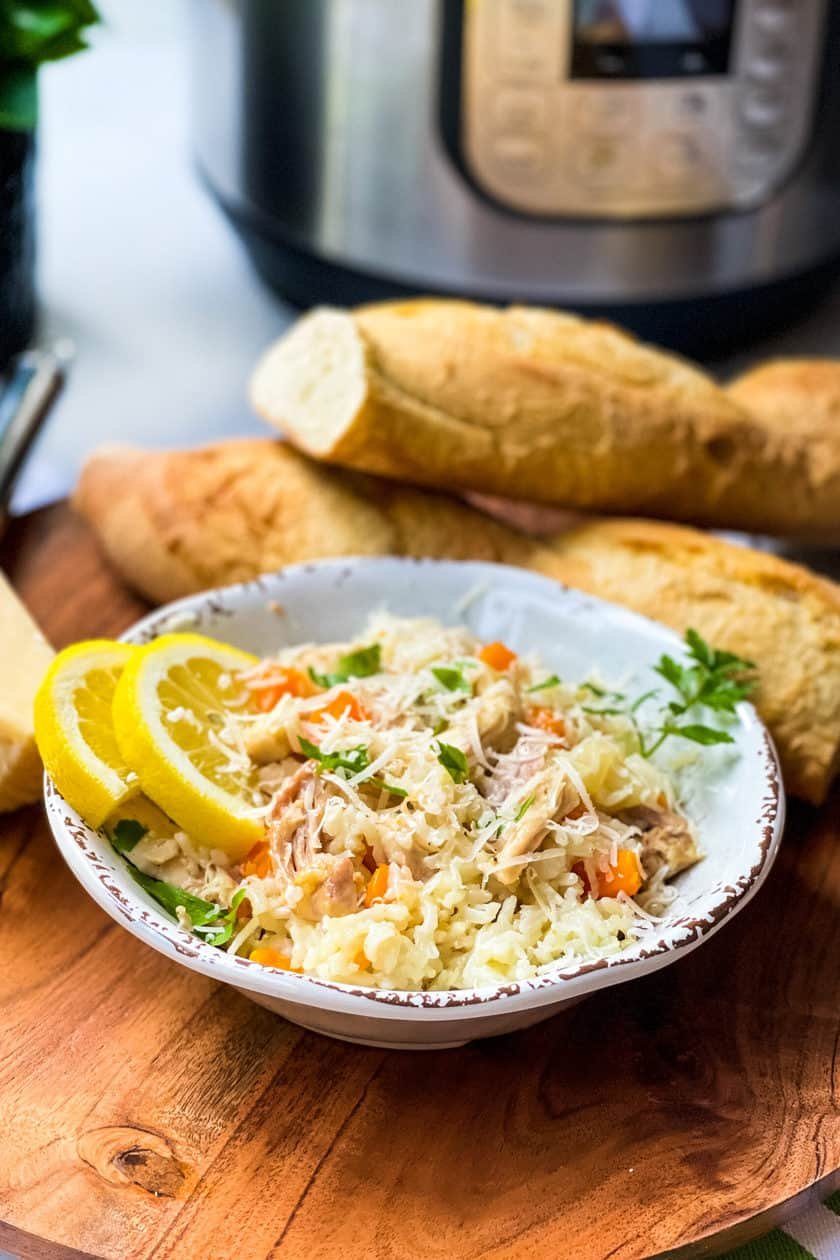 Chicken Bog with Chunks of Baguette and an Instant Pot in the background
