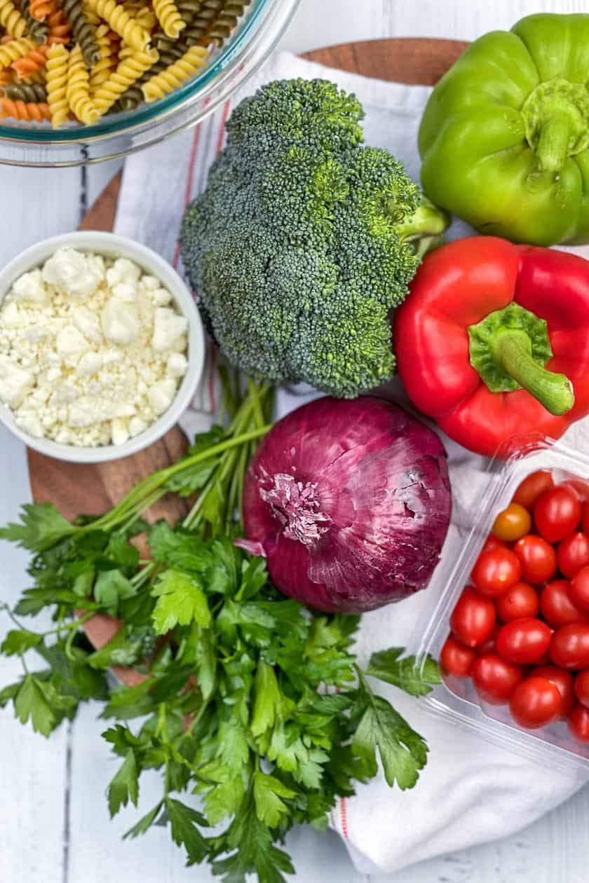 Pasta Salad Ingredients on a white background