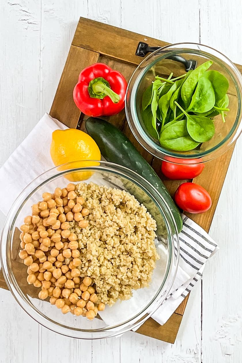 Quinoa Salad Ingredients in a glass bowl