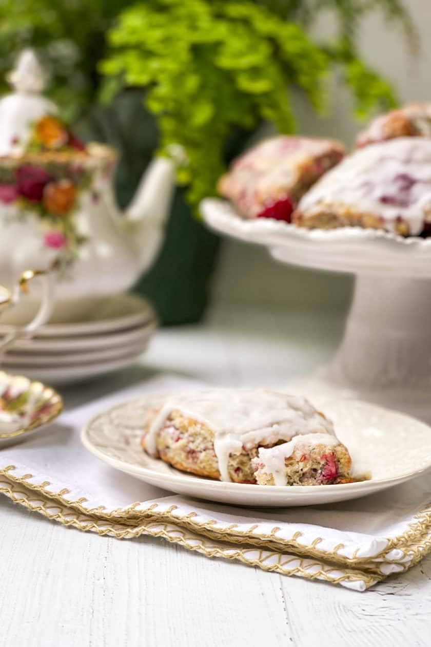 Closeup view of raspberry scone