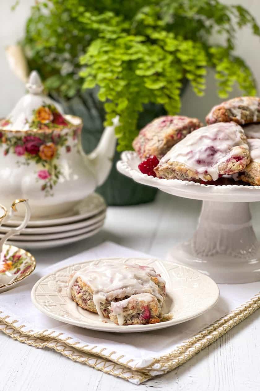Raspberry Scones with Royal Albert Country Roses tea set