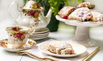 Raspberry Scones with Lemon Butter Glaze