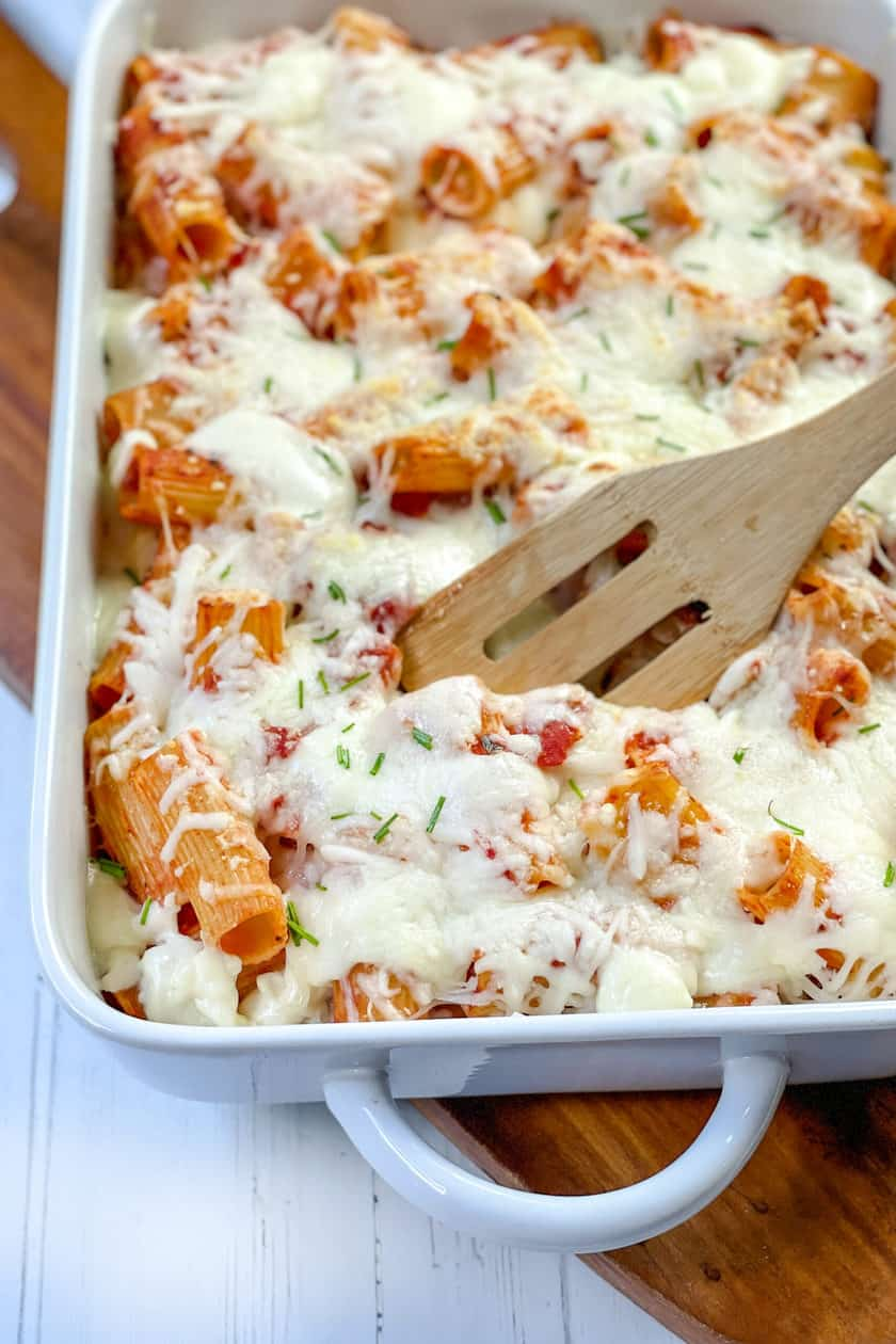 Closeup view of Baked Rigatoni with melted mozzarella