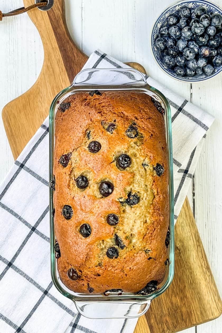 Baked Blueberry Banana Bread in a loaf pan