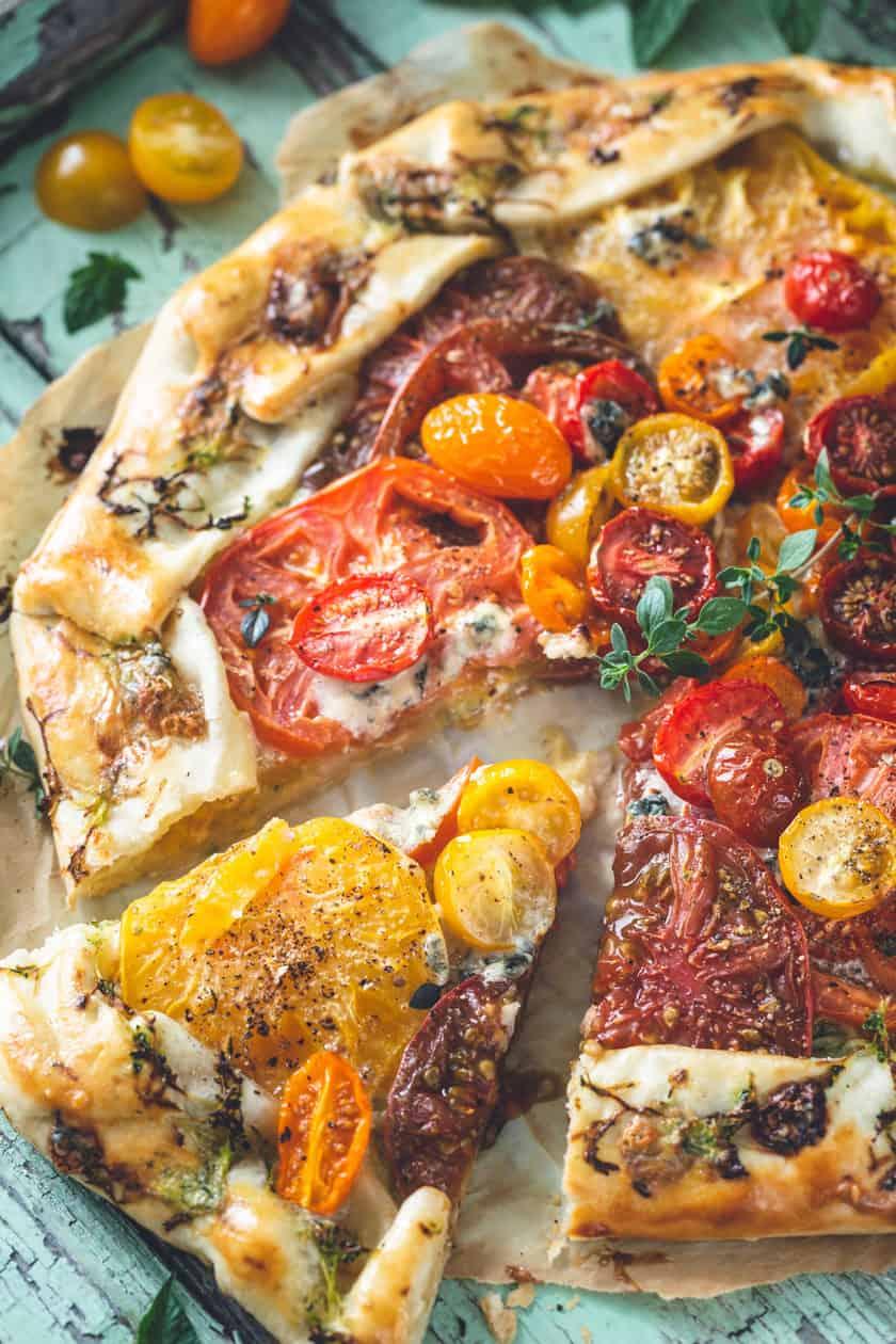 Baked and sliced Heirloom Tomato Tart