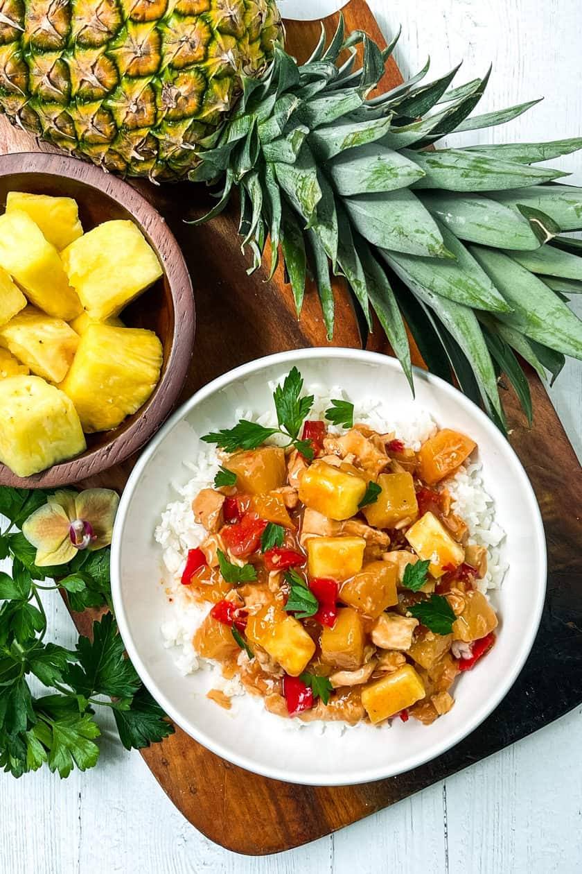 Top view of Instant Pot Pineapple Chicken with chunks of fresh pineapple