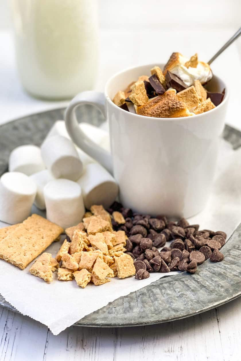 Side view of S'mores Mug Cake with garnishments