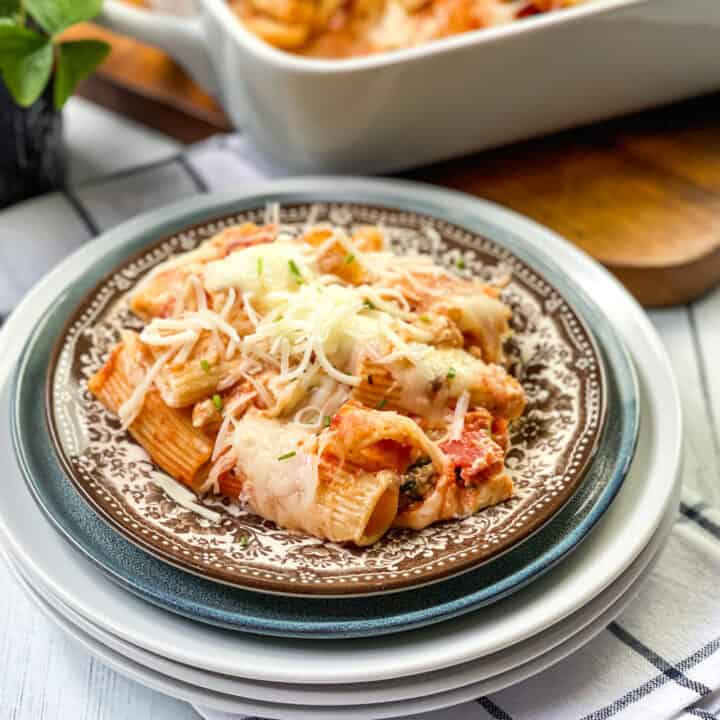 Bowl of Baked Rigatoni with Shredded Mozzarella