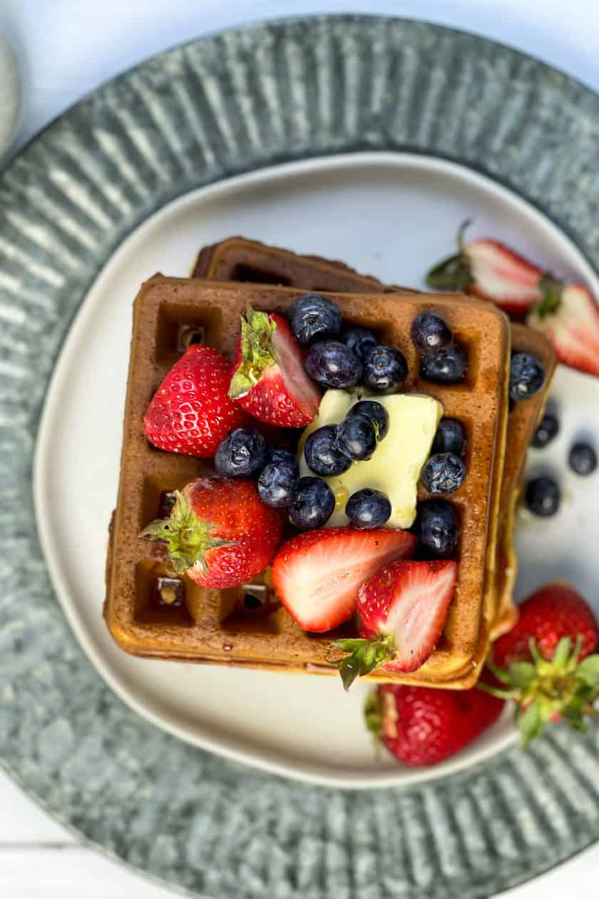 Top view of Whole Wheat Waffles with Berries