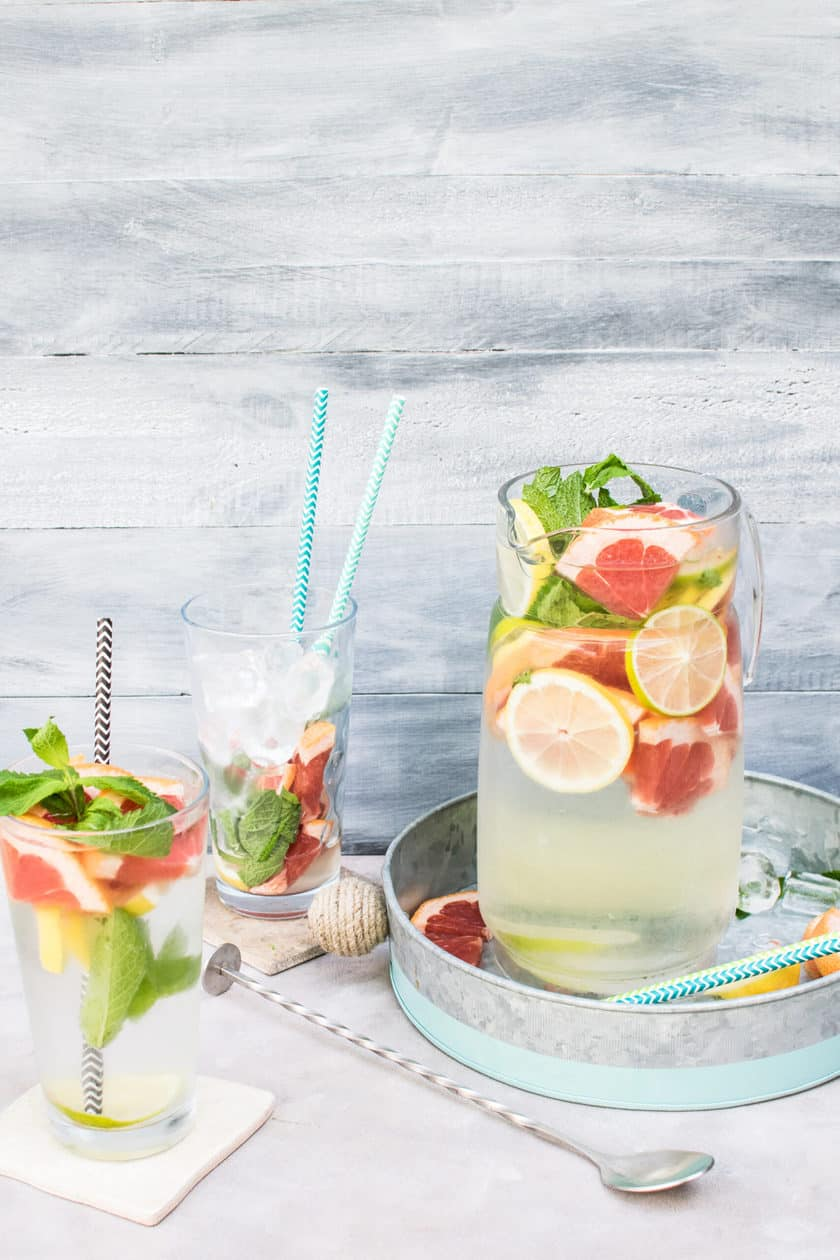 Citrus Water in a Pitcher with Grapefruit and Lemon