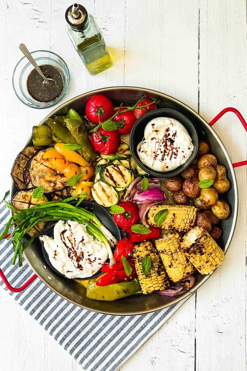 Top view of Grilled Vegetables Platter