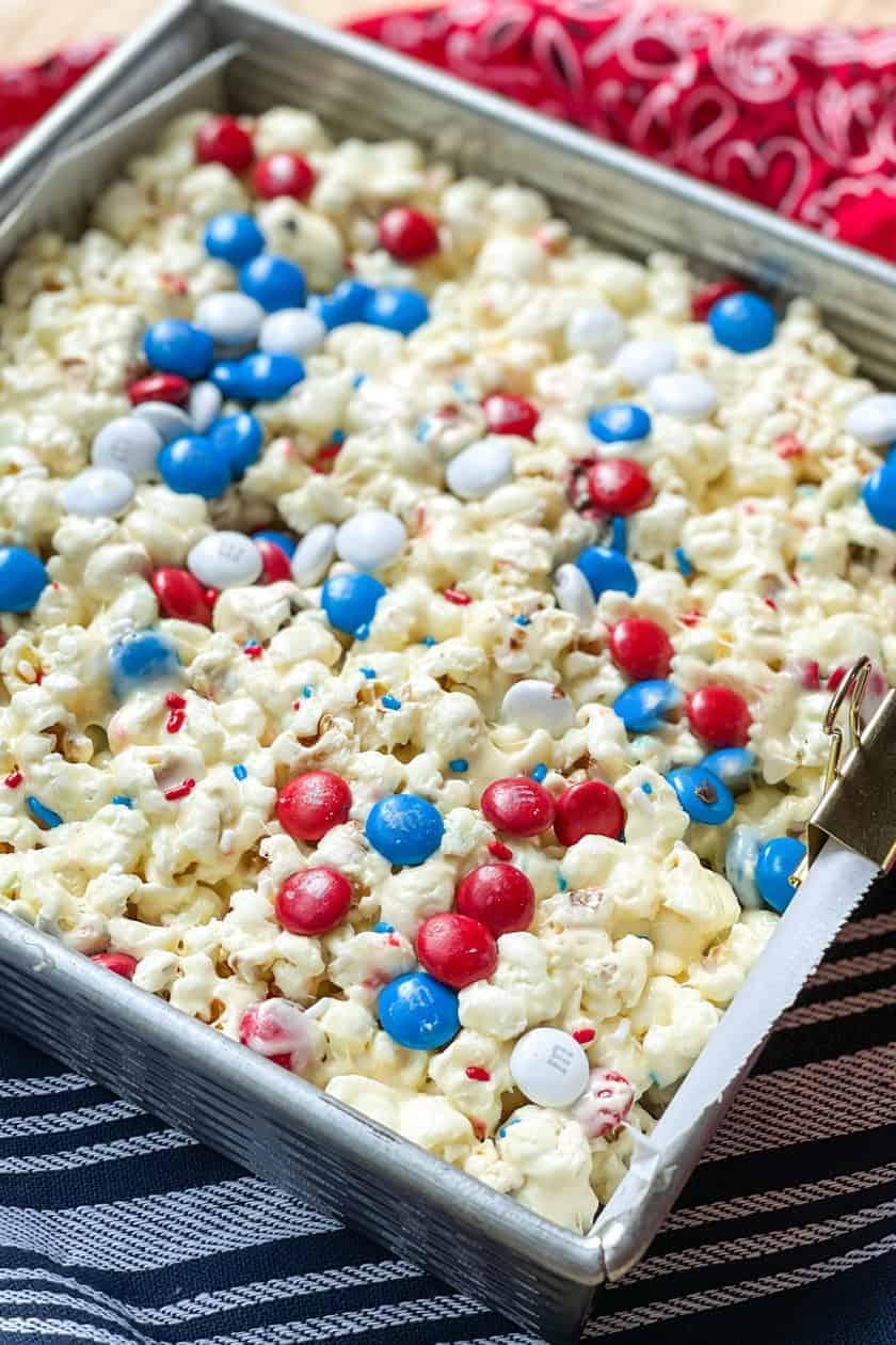 M&M Popcorn Treats in Square Baking Pan