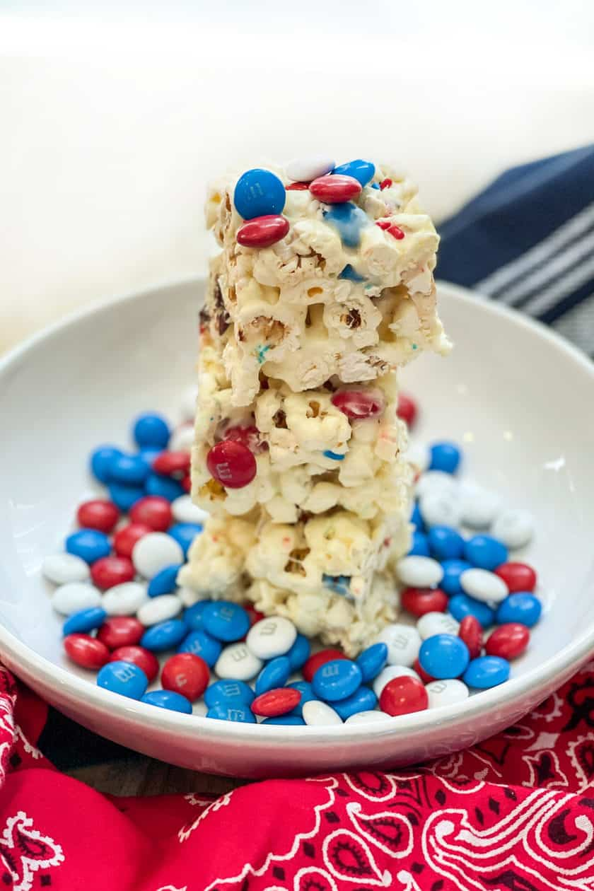 Stacked squares of M&M Popcorn Treats