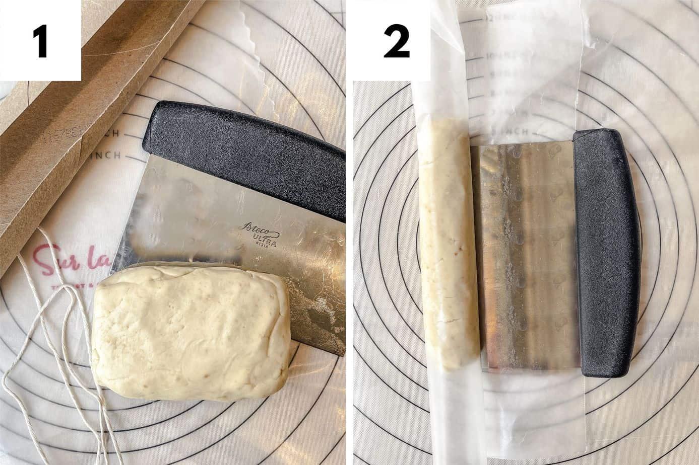 Steps 1 and 2 in Making Shortbread Tea Cookies