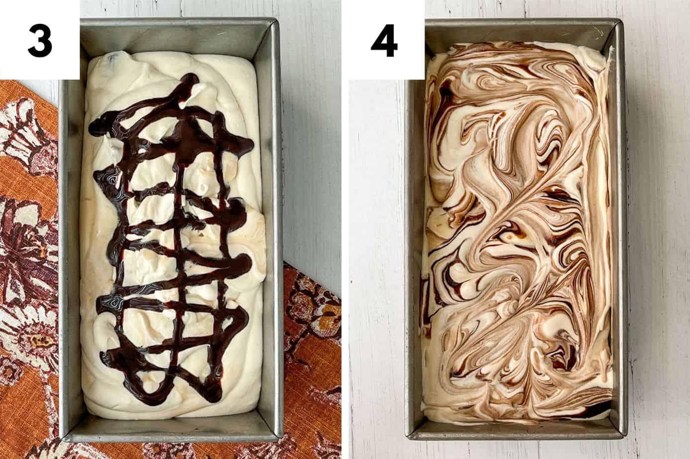 Preparing the No Churn Peanut Butter Chocolate Ice Cream for Freezing