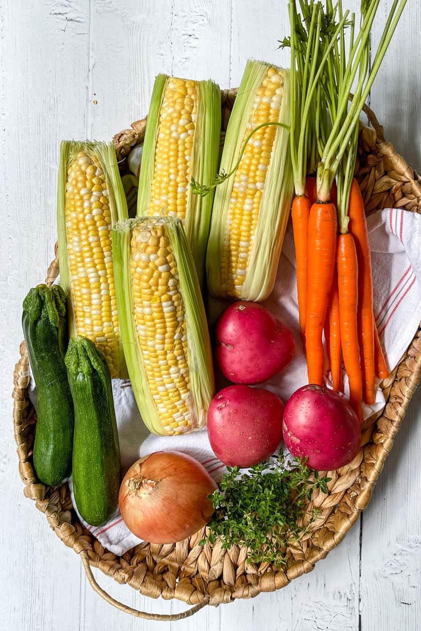 Zucchini Corn Chowder vegetables in a basket