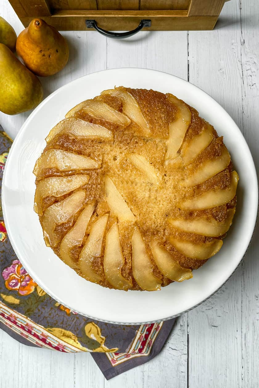 Top view of Pear Upside Down Cake