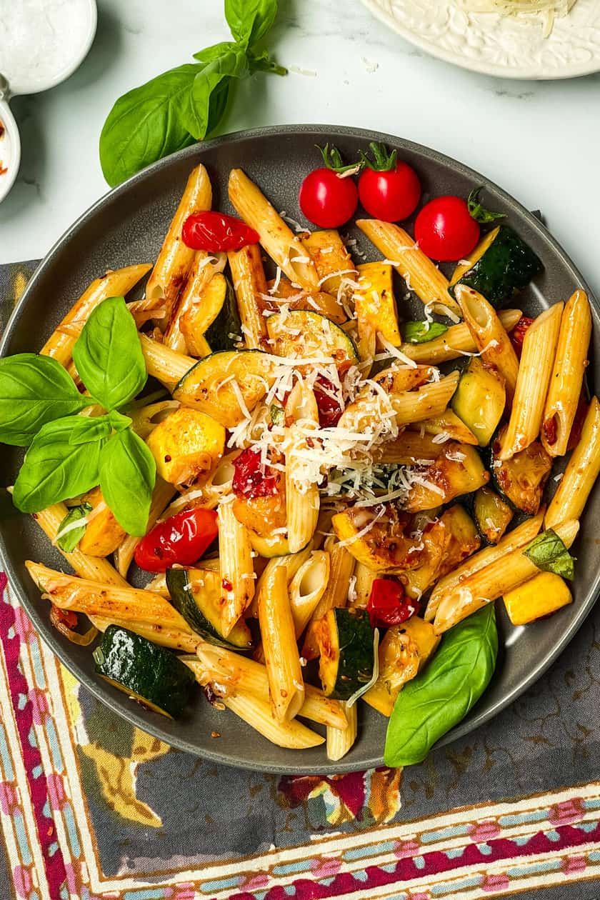 Closeup top view of a plate of Zucchini Pasta