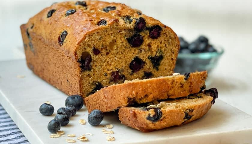 Healthy Oat Blueberry Bread