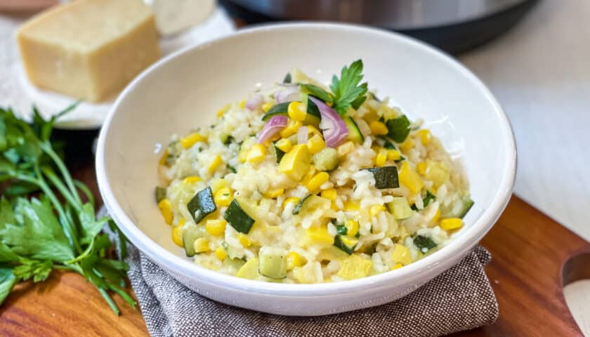Instant Pot Risotto with Zucchini and Sweet Corn