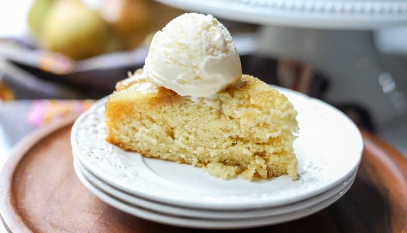 Maple Pear Upside Down Cake