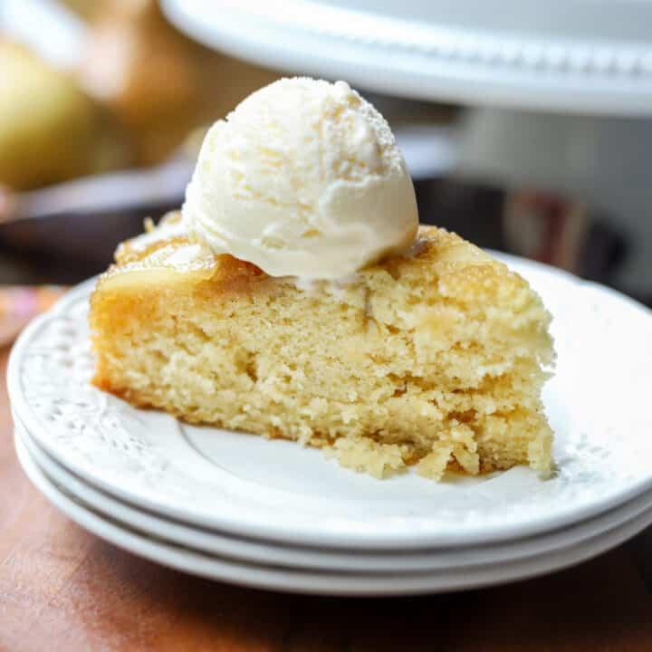 Slice of Pear Upside Down Cake with Vanilla Ice Cream