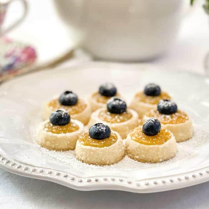 Tea tray with Shortbread Tea Cookies with Lemon Curd