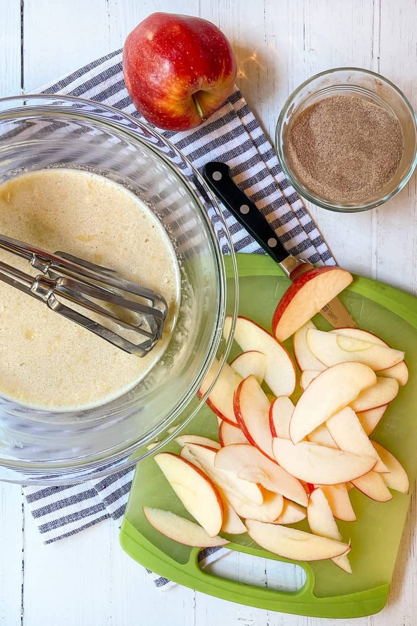 Apple Dutch Baby ingredients with sliced apples