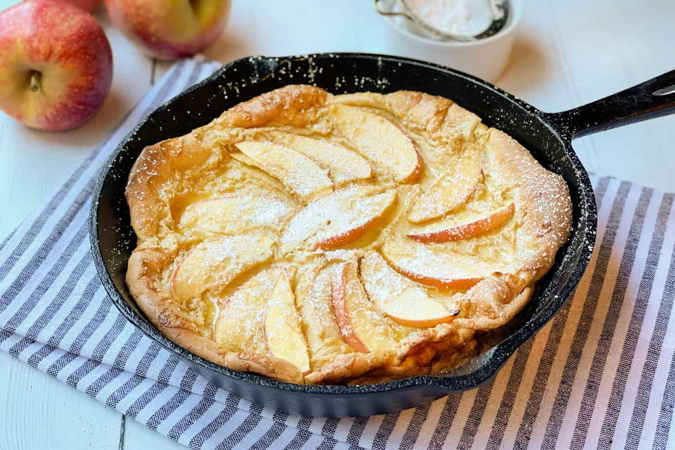Apple Dutch Baby Oven Pancake in a Cast Iron Skillet