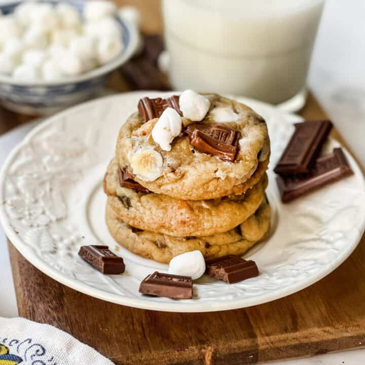 S'mores Cookies on a white plate